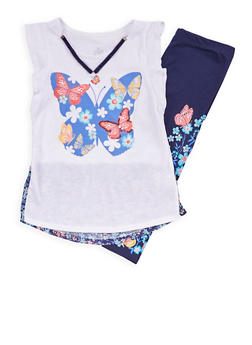 Girls 7-16 Butterfly Graphic T Shirt and Leggings Set - 1608023130004