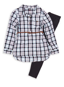 Girls 7-16 Plaid Tunic Top with Leggings - 1608023130005