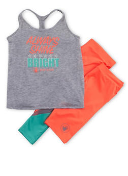 Girls 7-16 Graphic Activewear Racerback Top with Leggings and Biker Shorts - 1608023260008