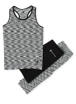 Girls 7-16 Space Dye Activewear Top with Leggings and Biker Shorts - 1608023260013