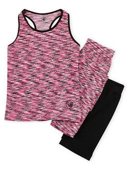 Girls 7-16 3 Piece Space Dye Top and Leggings Set with Activewear Shorts - 1608023260014