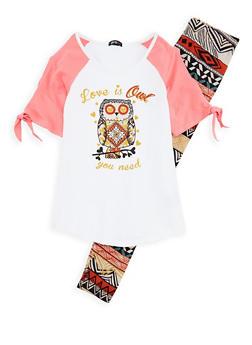 Girls 7-16 Owl Graphic Top and Aztec Print Leggings - 1608038340001