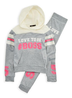 Girls 7-16 Boss Graphic Sweatshirt and Sweatpants - 1608038340011