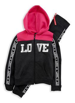 Girls 7-16 Love Graphic Sweatshirt and Joggers Set - 1608038340016