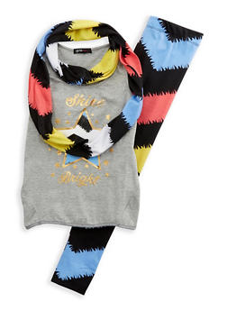 Girls 7-16 Tank Top with Leggings and Scarf Set - 1608038340028