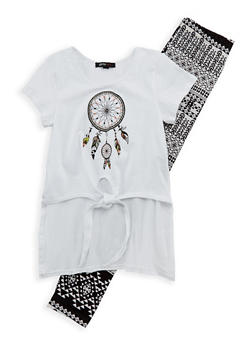 Girls 7-16 Graphic High Low Top with Leggings Set - 1608038340031