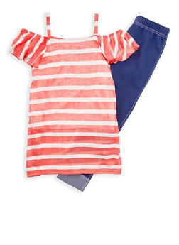 Girls 7-16 Striped Cold Shoulder Top with Cuffed Jeggings - 1608048370021