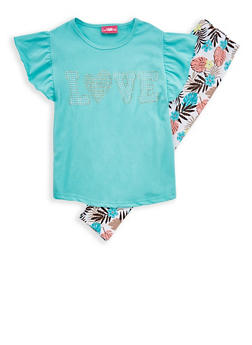 Girls 7-16 Love Graphic T Shirt with Tropical Print Leggings - 1608048370022