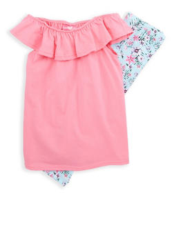 Girls 7-16 Off the Shoulder Top with Floral Leggings - 1608048370025