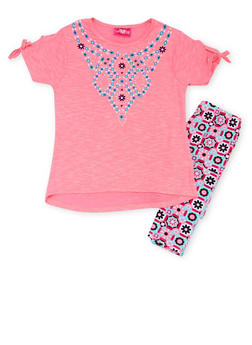 Girls 7-16 Graphic Tee with Printed Leggings Set - 1608048370102