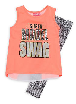 Girls 7-16 Sleeveless Graphic Top with Leggings Set - 1608048370107