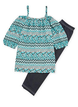 Girls 7-16 Off the Shoulder Top with Leggings Set - 1608048370108