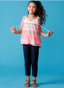 Girls 7-16 Printed Tunic Top with Jeggings Set - 1608048370119