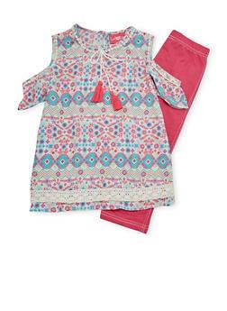 Girls 7-16 Crochet Trim Cold Shoulder Top with Denim Knit Leggings - PINK - 1608048370120