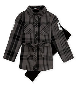 Girls 7-16 Belted Plaid Top and Leggings - 1608054730008