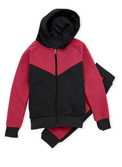 Girls 7-16 Hoodie and Joggers Set with Quilted Paneling - 1608056720005