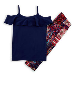 Girls 7-16 Soft Knit Cold Shoulder Top with Printed Leggings - 1608060580001