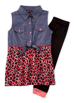 Girls 7-16 Limited Too Leopard Print Dress with Leggings - 1608060990002