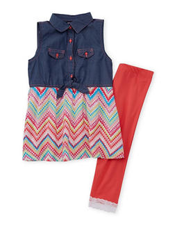 Girls 7-16 Limited Too Chambray Multi Color Dress with Lace Trim Leggings - 1608060990004