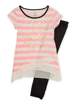 Girls 7-12 Striped Gold Foil Top with Knit Denim Leggings Set - 1608061950003