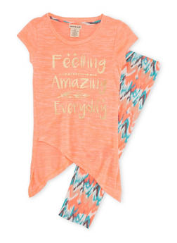 Girls 7-12 Graphic Tulip Hem Top with Abstract Print Leggings Set - 1608061950010