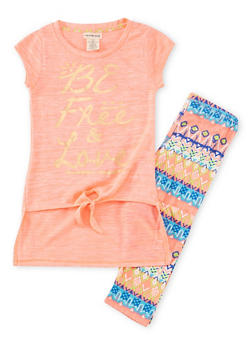 Girls 7-16 Graphic High Low Top with Leggings Set - 1608061950012