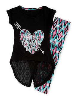 Girls 7-16 Cap Sleeve Graphic Live Laugh Love T Shirt and Leggings Set - 1608061950015