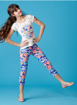 Girls 7-16 Graphic Free Spirit Floral T Shirt and Legging Set - 1608061950019