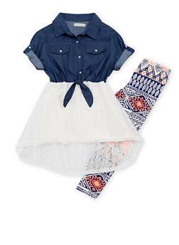 Girls 7-16 Denim Lace Dress with Printed Leggings - 1608061950020