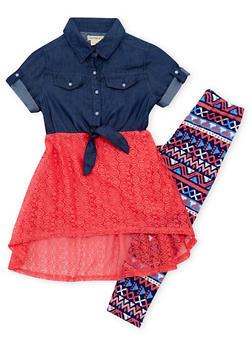 Girls 7-16 Denim Lace Dress with Printed Leggings - 1608061950021