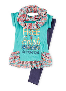 Girls 7-14 Short Sleeves Graphic T Shirt and Legging Set with Scarf - 1608061950036