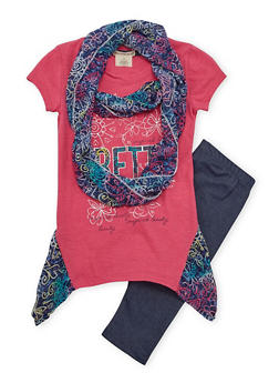 Girls 7-16 Graphic Top Set with Denim Knit Leggings and Scarf - 1608061950037