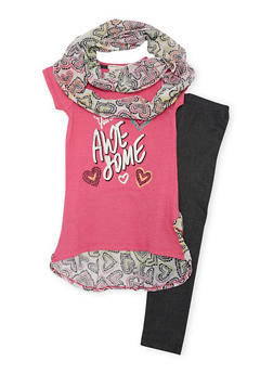 Girls 7-16 Graphic Top Set with Jeggings and Scarf - 1608061950040