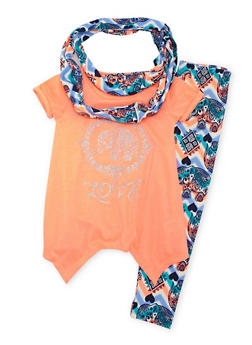 Girls 7-12 Glitter Graphic T Shirt with Elephant Print Leggings and Scarf - 1608061950042