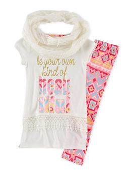 Girls 7-16 Graphic Top and Leggings Set with Scarf - 1608061950043