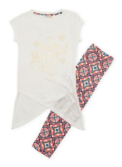 Girls 7-16 Hello Beautiful Graphic Top with Printed Leggings - 1608061950046
