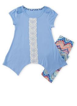 Girls 7-16 Crochet Trimmed Asymmetrical Top with Printed Leggings - 1608061950053