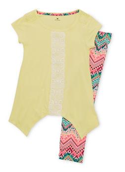 Girls 7-16 Crochet Trim Sharkbite Top with Printed Leggings - 1608061950054