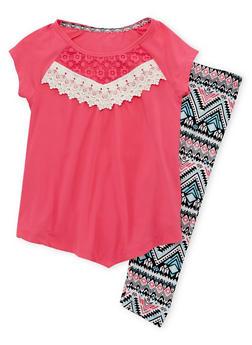 Girls 7-16 Crochet Detailed Top with Aztec Print Leggings - 1608061950055