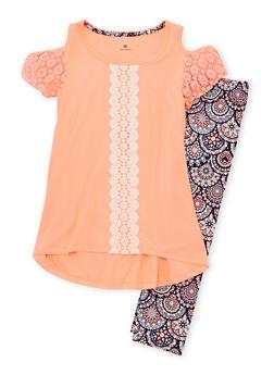 Girls 7-16 Soft Knit Cold Shoulder Top and Leggings Set - 1608061950057