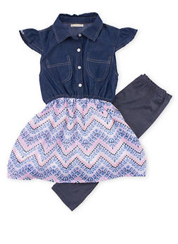 Girls 7-16 Printed Chambray Dress and Leggings Set - 1608061950058