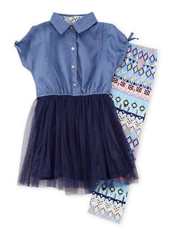 Girls 7-16 Chambray Tulle Dress with Printed Leggings - 1608061950059