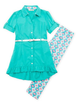 Girls 7-16 Belted Button Front Tunic Top with Printed Leggings - 1608061950062