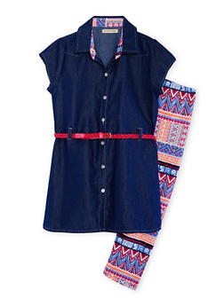 Girls 7-16 Belted Denim Tunic with Aztec Leggings - 1608061950065