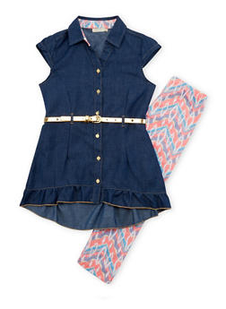 Girls 7-16 Belted Chambray Tunic Top with Printed Leggings - 1608061950066
