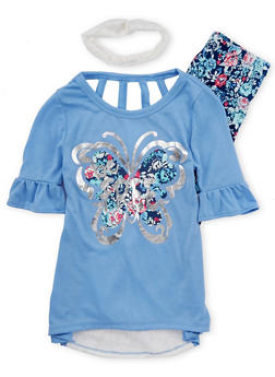 Girls 7-16 Graphic Lace Back Top with Leggings and Headband - 1608061950072
