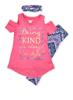 Girls 7-16 Foil Graphic Cold Shoulder Top with Printed Leggings and Headband - 1608061950074