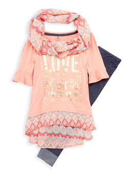 Girls 7-16 Foil Graphic Top with Leggings and Scarf - 1608061950082