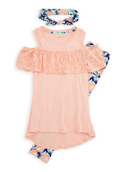 Girls 7-16 Cold Shoulder Top with Leggings and Headband - 1608061950094