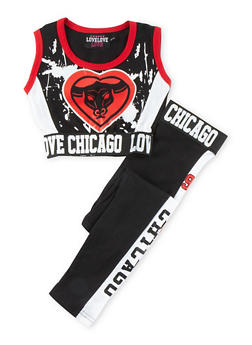 Girls 7-16 Chicago Graphic Crop Top with Leggings - 1608063400007